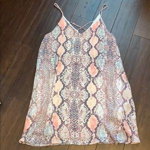 Pink snake skin print dress